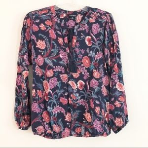 Lucky Brand   Tassel Floral Blouse   Small